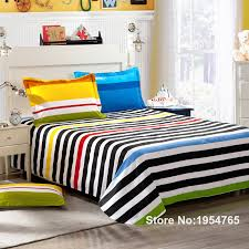 contemporary boys bedding in rainbow color stripe set for single double bed flat design 15