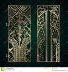 Gold Art Deco Panels On Dark Green ...