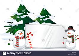 Signboard Template Snowman With Signboard Template Illustration Stock Vector Art