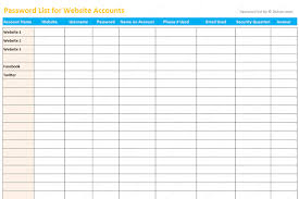 passwords template password list template excel dotxes