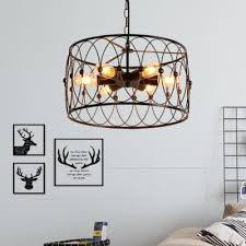 industrial 15 75 w chandelier with cyliner metal cage in vintage style 6 light