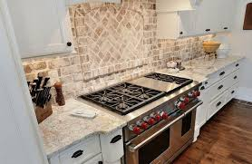 Brick Backsplash Kitchen White Kitchen Cabinets With Brick Backsplash