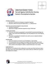 Volunteer Satisfaction Survey Template Amateur Radio Team Served Agency Satisfaction Survey Redacted