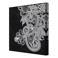 Leinwandbild Schwarz Weiß Gothic Ornament Quadrat 11