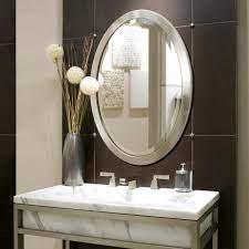 Deco Mirror 23 In W X 29 In H Framed Oval Beveled Edge Bathroom Vanity Mirror In Brushed Nickel 6295 The Home Depot
