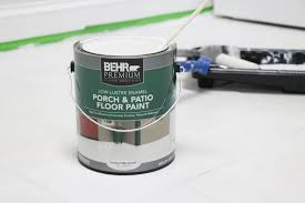 once the primer is completely dry paint the floor with two coats of behr s porch and patio floor paint