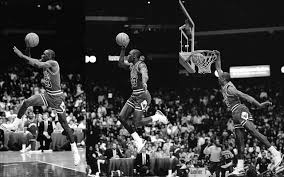 reason no this dunk so is dominique if you try to jump from the throw line off two legs you won t come close michael is a one legged jumper he jumps and floats