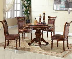 luxury antique turntable wood round dining table chair set larger image
