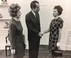 nixon office. Germaine Krettek, Director Of The Washington Office, Shakes Hands With President Richard Nixon In Office