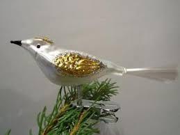 Christbaumschmuck Glas Vogel Silber Gold Lauschaer Glasartikel