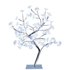 morning glory led lighted silver decorative tree lamp