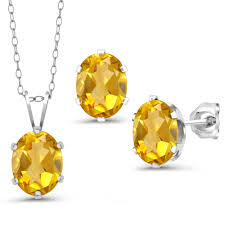 3 90 ct oval yellow citrine 925 sterling silver pendant earrings set with chain 0