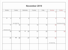 Vacation Calendar Templates Awesome Printable November Holidays 2019 Calendar Template