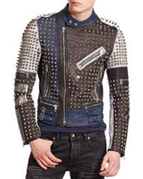 details about new mens punk multicolor silver studded biker leather jacket all size