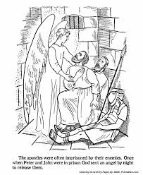 The Apostles Coloring Pages Peter And John In Prison Bible