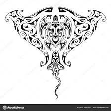 Mantaray рыбы татуировка с черепаха формы внутри векторное