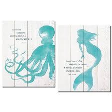 sweet design mermaid wall decor com beautiful inspirational and octopus set 2 11x14 poster prints