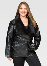 leather jackets plus size short fur collar faux leather jacket plus size faux leather jackets