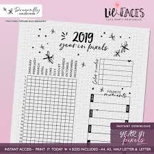 Instant Download Dragonfly Bullet Journal Printable 2019 Year In Pixels Mood Trackers Mood Chart Journal Bujo Printable Planner Inserts