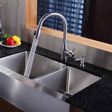 kraus khf20336kpf2130sd20 36 inch stainless steel 60 40 double bowl a kitchen sink with 16 gauge 10 inch bowl depth rear set drain opening and stone