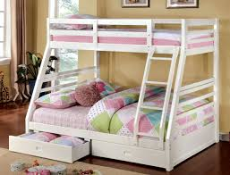 Makaio White Wood Twin Over Full Bunk Bed with Drawers for Kids