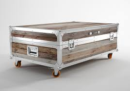 Coffee Tables, Cozy Light Brown Rectangle Rustic Wood Trunk Coffee Tables  With Storage On Wheels ...