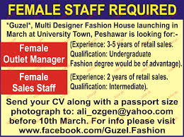 Female Outlet Manager And Sales Staff Job Opportunity 2017 2018