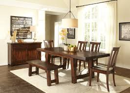 Casual Dining Set With Bench Pc Wooden Dining Furniture Rectangle - Leaf dining room table