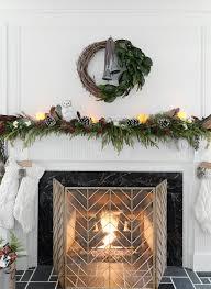 Mantle Garland Lights A Christmas Fireplace Mantel Garland Rambling Renovators