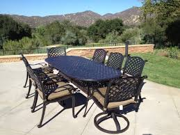 nassau cast aluminum powder coated 9pc outdoor patio set with 42 x102
