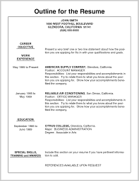 Resume Outline Unique Job Resume Outline 100 Job Resume Ideas 2