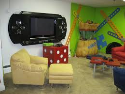 Game Room Wall Decor Sleek Video Game Room Design Idea In Basement Interior With Bar