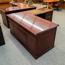 used kimball left l shaped executive office desk walnut del1522 001