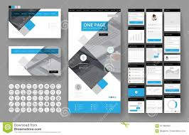 Office Stationery Design Templates Website Design Template And Interface Elements Stock Vector