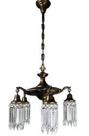 art nouveau notched crystal chandelier