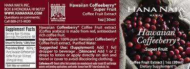 A single 100 mg dose was given and then blood drawn every 30 minutes for two hours. 100 Pure Hawaiian Coffeeberry Coffee Fruit Extract Coffea Arabica Hana Nai A Aromatherapy Hawaii