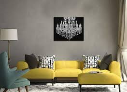 black and white canvas art wall decor crystal chandelier wall art