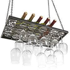 vineyard design country rustic metal ceiling mounted hanging stemware wine glass hanger organizer rack