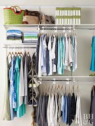 Maximize your closet's height with a double-rod closet organizer. Organize  shorter clothes, such as blouses and tank tops, on the upper bar, and pants  and ...