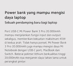 [20000 mAh <b>Mi Power Bank 3</b> Pro]Info produk - Indonesia