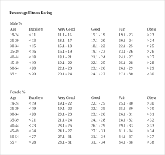 Body Fat Chart Templates 6 Free Excel Pdf Documents