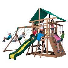 backyard discovery mount mckinley cedar swing set 1705012com the home depot