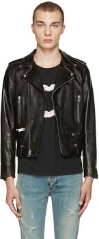 saint lau black leather biker jacket men yves saint lau tribute ysl