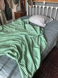 antique belgian green white check single cotton duvet cover and grey pillowcase