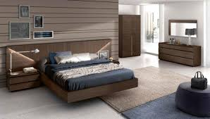 image modern wood bedroom furniture. Modern Dark Walnut Finish Bedroom Set With Headboard Lights [Gc501 And Contemporary Wood Furniture Design Image N