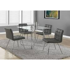 metal dining room chairs chrome: grey faux leather chrome metal dining chairs set of