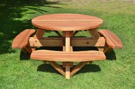 shocking round wooden picnic table with attached benches image of wood plans styles and set ideas