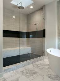 modern bathroom tile gray. Delightful-Soaking-White-Porcelain-Tub-As-Well-As-Gray-Subway-Tile -Wall-Stand-Up-Shower-Cubicle-With-Glass-Divider-Bath-In-Modern -Black-And-White-Bathroom Modern Bathroom Tile Gray