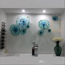 2019 blue flower plates wall art italian style blown glass hanging plates wall art decor murano glass plate for living room dining room from hony