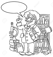 Coloring Picture Of Funny Scientist Or Inventor An Old Man In